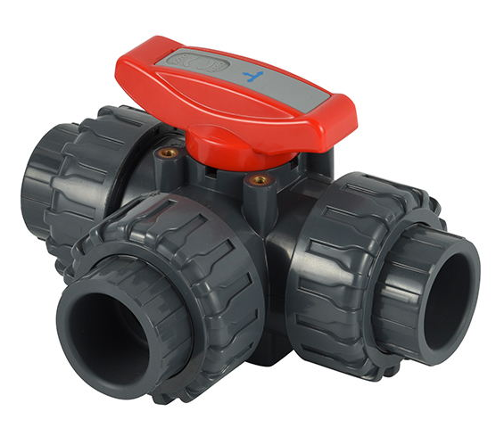PVC PPH 2 inches manual type three 3 way water ball valve
