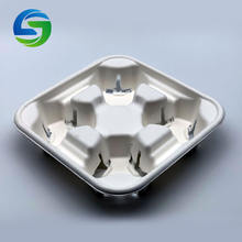 Green Olives Environmental Protection 2 Or 4 PCS Pack Cavity Disposable Sugarcane Bagasse Coffee Drink Tea Cup Holder Tray
