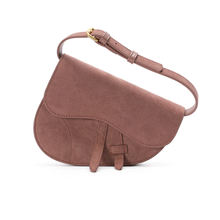 Suede Leather Pink Women Waist Bags Saddle Bag Handbag Lady Belt Bag