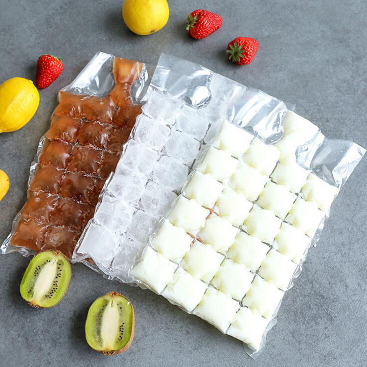 Transparent Plastic Self Seal Disposable Ice Cube Tray Mold Clear Frozen ice cube Bag