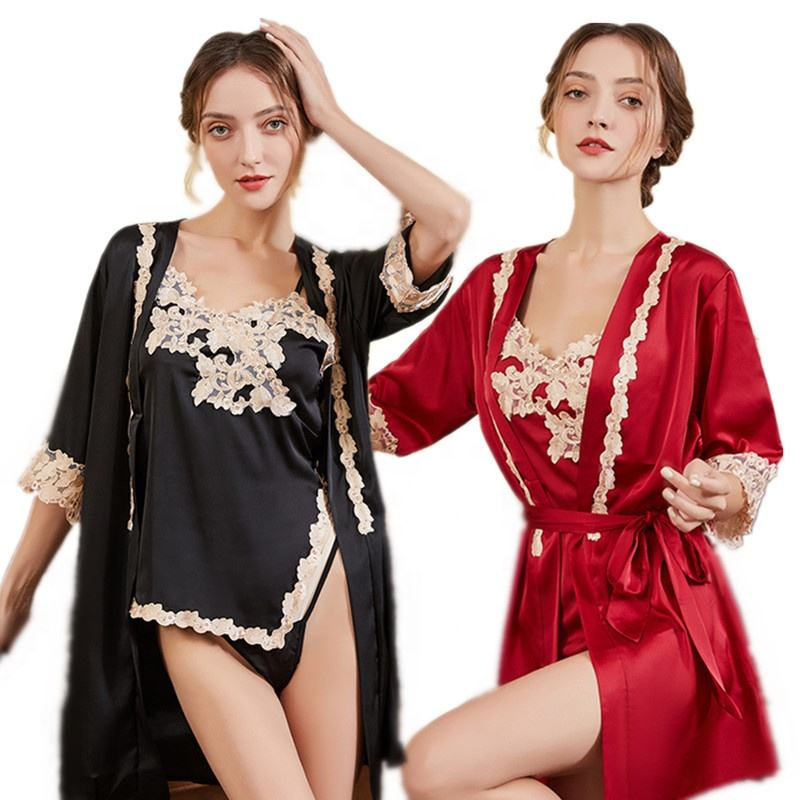 Ladies Sexy tempts Sleep Wear Home Wear Short Dress Sleepwear Bridal Robe Silk Bathrobe Erotic Lingerie Sets