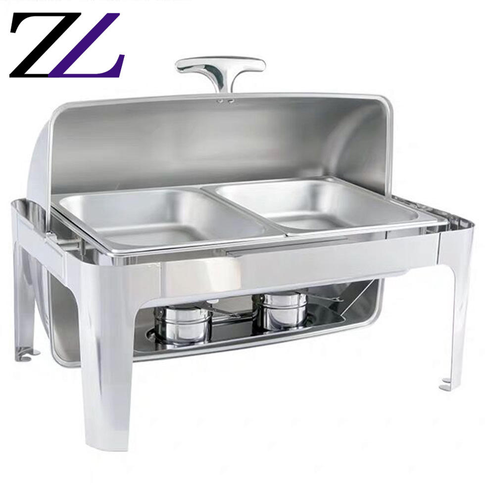 Kichens food warmer for restaurants catering material and equipments roll top buffet server chafing dish stainless steel chafer
