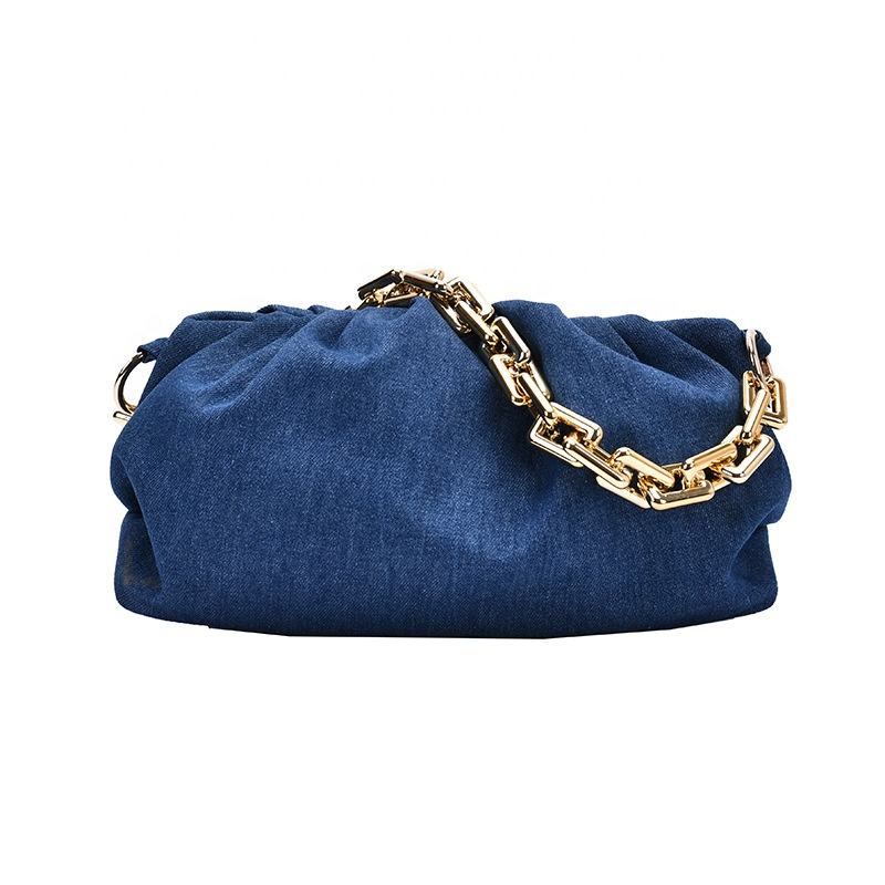 2021 Fashion Ladies Jeans Denim Handbags Cross Strap Shoulder Thick Plastic Chain large Cloud Bags Women Hand Bags Purses