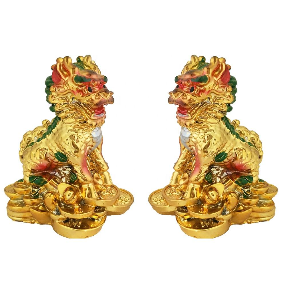Foo Fu Dogs Temple Lions Yin Yang Pair Standing on Wealth Coins and Ingot Powerful Feng Shui Protection Symbol Decor