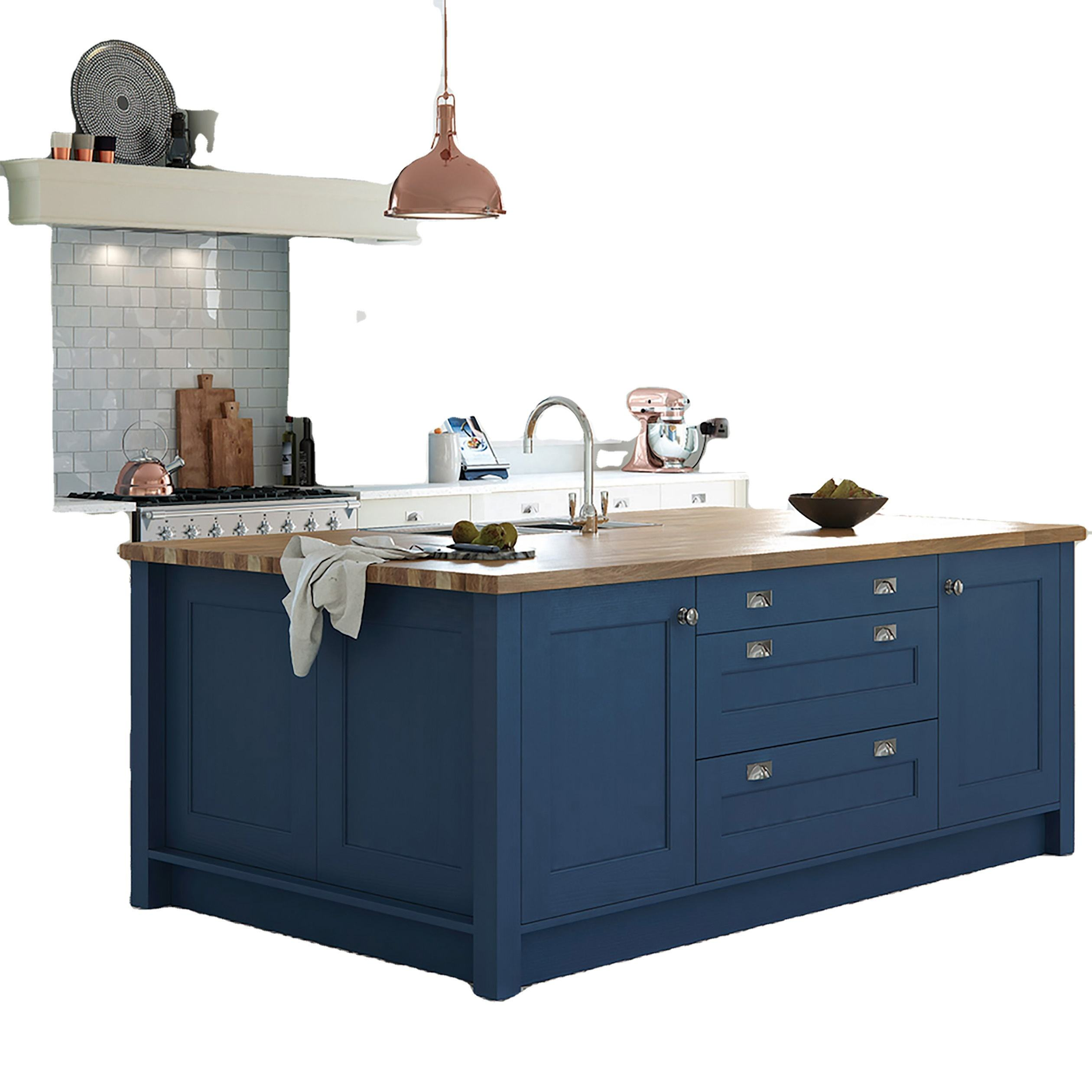 Hot Selling Modular Cupboards Blue Kitchen Cabinet Designs Solid Wood With Island
