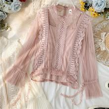 B51420A Sweet lady fashion Korea style hollow out lace bud nice blouse
