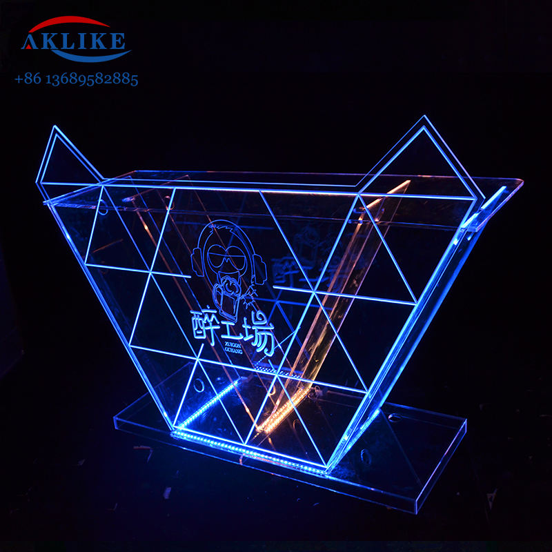Night Bar Led Dj Table Acrylic Light AKLIKE Design Clubs Facade Led Dj Booth Sells Furniture with Logo Counter Sales Dj Box