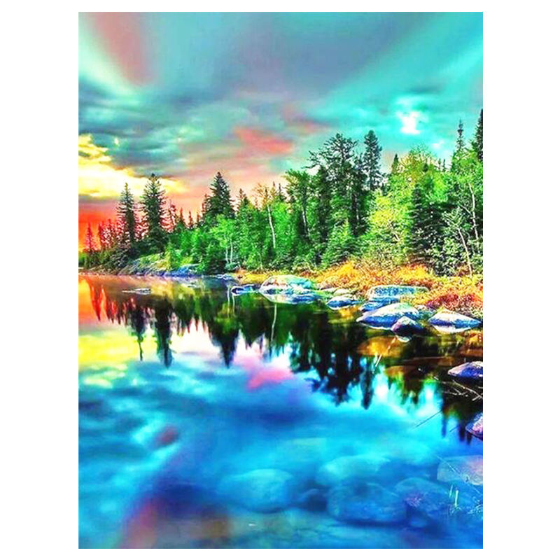 Diamond Embroidery Full Round Set Scenic DIY Diamond Painting Natural Colorful Painting Art Picture Of Rhinestone