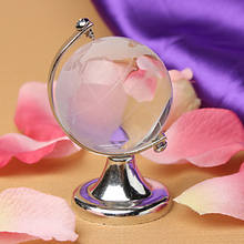 Crystal World Globe with silver metal stand MH-0053H