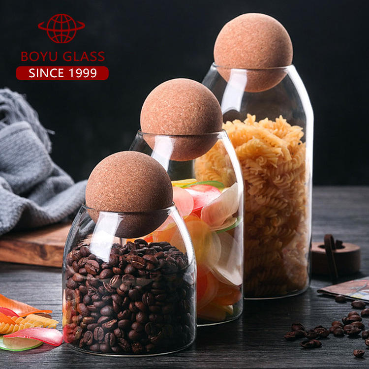 Wooden Stopper Borosilicate Custom 500ml 800ml 1200ml Food Container Glass