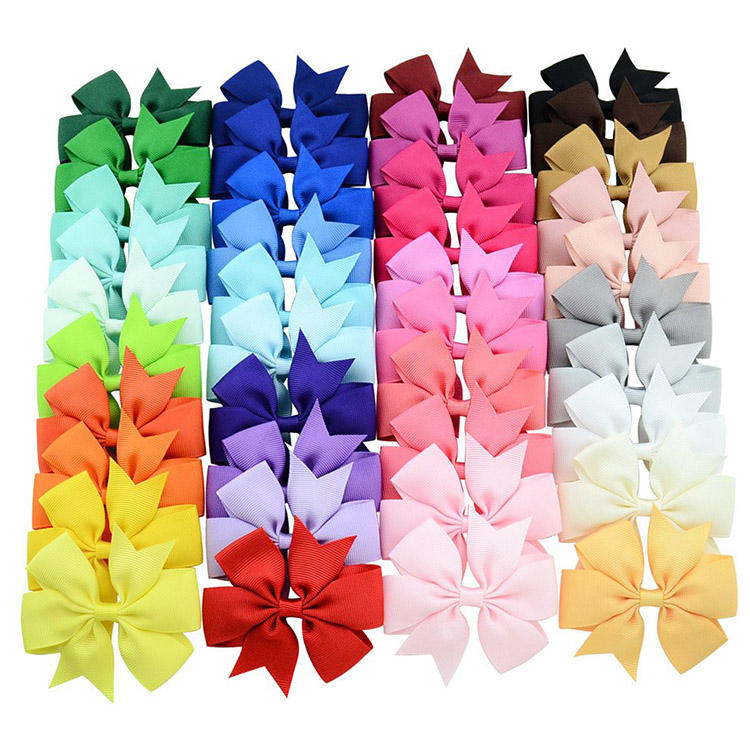 wholesale Children ribbon bow hair clip 3 inch *3 inch grosgrain ribbon bow handmade bow for hair accessory