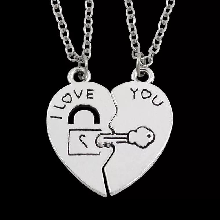 Free Shipping Femtindo Custom Couple Necklaces Jewelry Antique Silver Color I Love You Necklace For Lovers