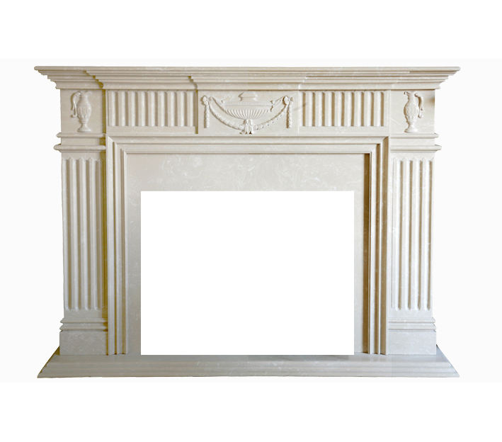 Well design white marble fireplace mantel , customized size