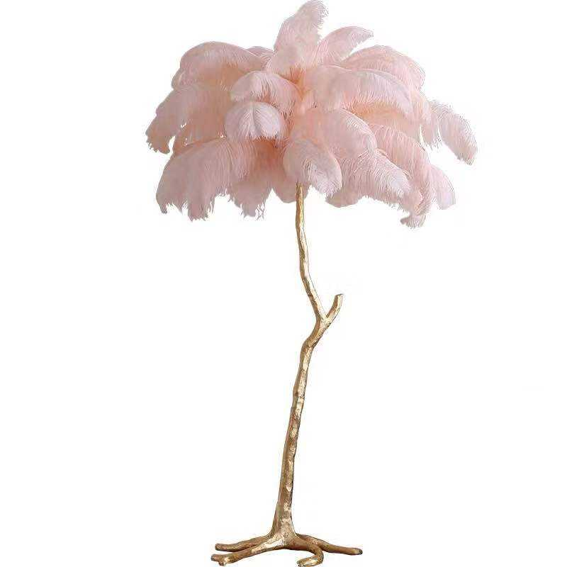 High Quality LED Floor Lamp Ostrich Feather from South Africa hotel decoration modern palm tree stand copper floor lamp