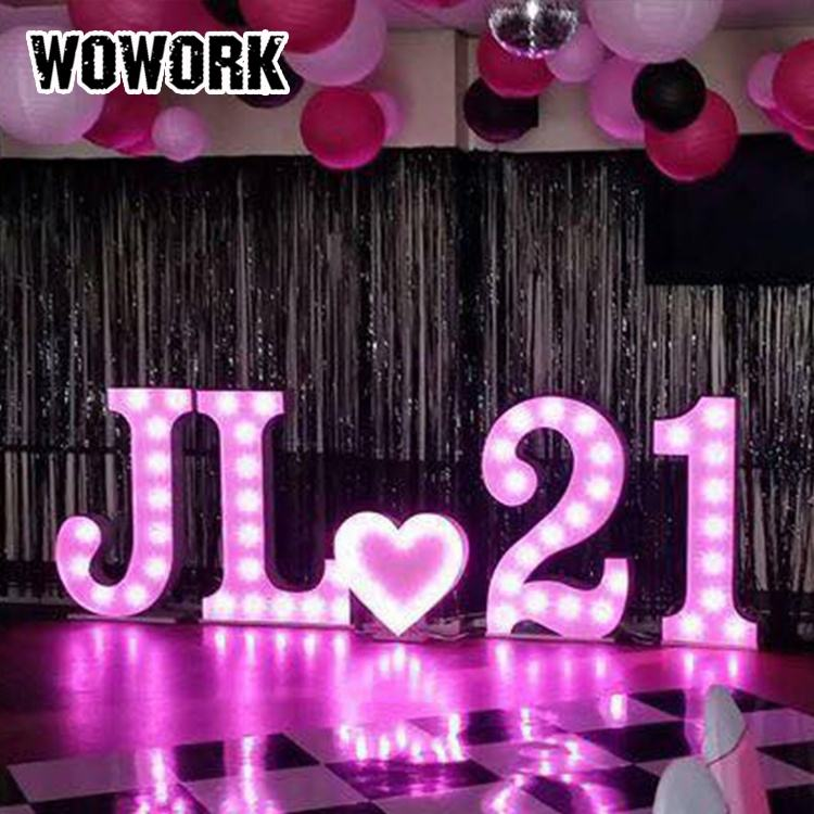 WOWORK Birthday party wedding festival decoration marquee light letter bulb sign