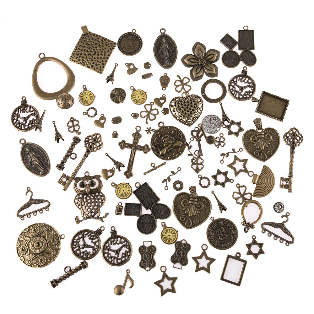 30g Mixed vintage bronze star musical instrument cross watch charms Diy jewelry quantity and style random