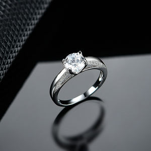 XZY 925 Sterling Silver Ring Classical Engagement Fine Jewelry Finger Ring with CZ and Rhodium Plated