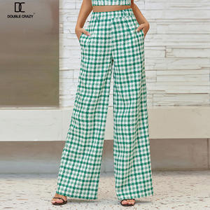 Weixin Double Crazy Womens Clothing Pant Zip Back Gingham Wide Leg Pants