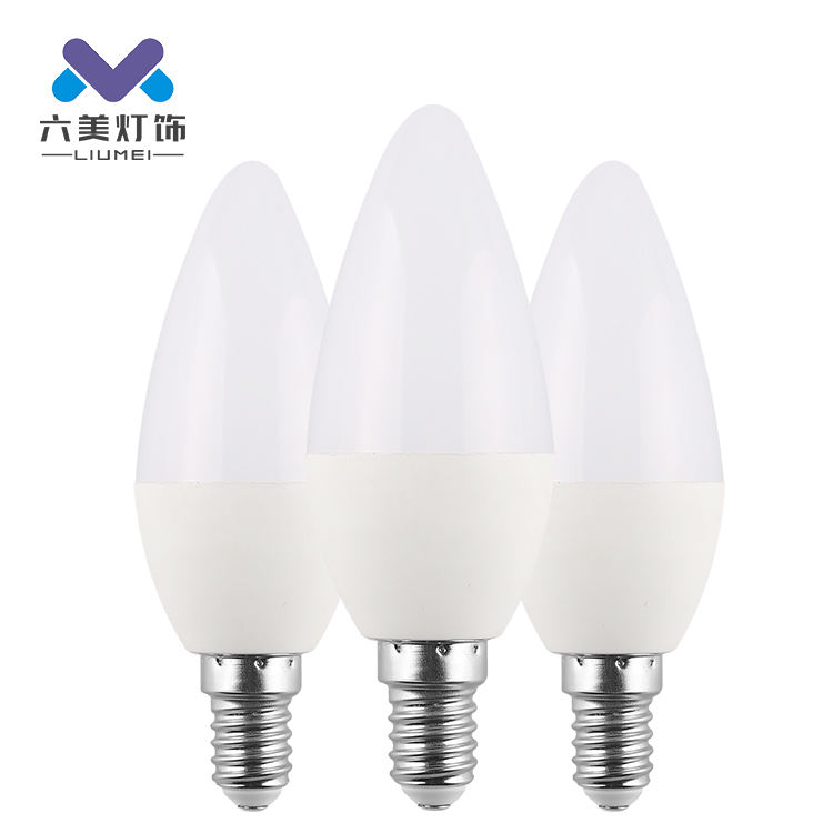 Easy installation indoor home office shop b22 e27 7w led pointed bulb light