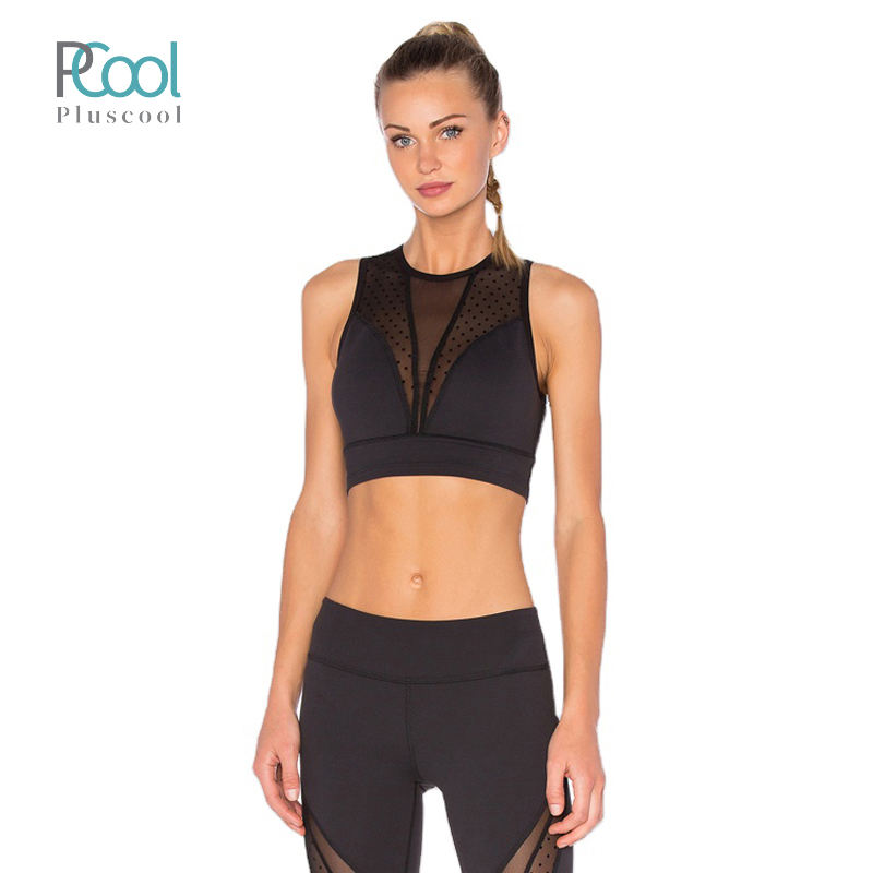 Hot sell women removeable padded sexy yoga wear workout breathable top bra with mesh