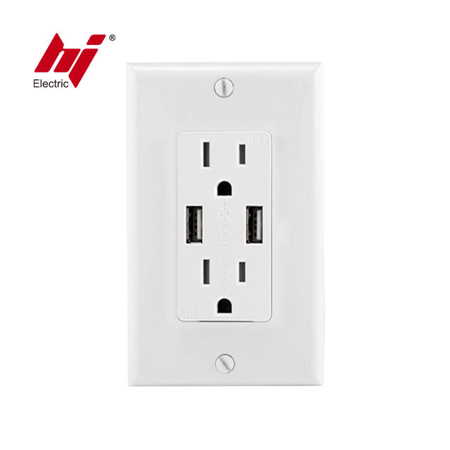 Packaging Customization Socket Usb Outlet Made In China 15A Duplex Receptacle 2 Port USB Wall Charger Socket 125V 4.0A USB Outlet Wall Plate