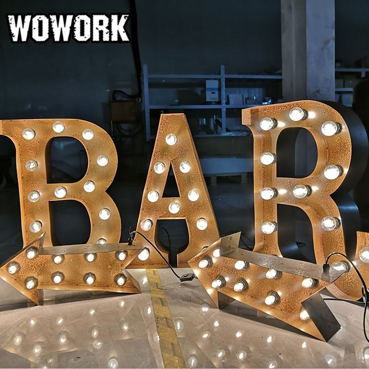 WOWORK waterproof outdoor customized event hire metal Marquee letter alphabet String Light for holiday decoration