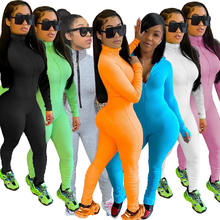 Workout Active Wear Rompers Womens Jumpsuit Sports Long Sleeve Fitness Zipper Fitness Jogger Jumpsuits C13125