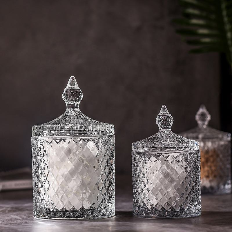 wedding diamond luxury ribbed geometric big crystal soy wax scented geo handcut candle holder container glass jar with glass lid