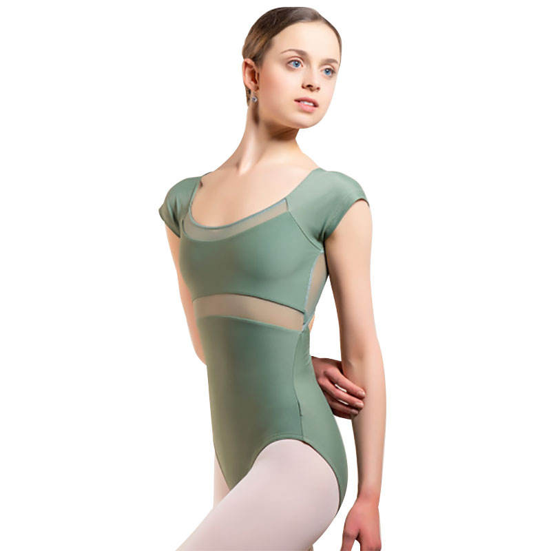 Sleeveless Training Dancewear Dark Green Women Mesh Bodysuit Custom Girl Dance Gymnastic Leotard