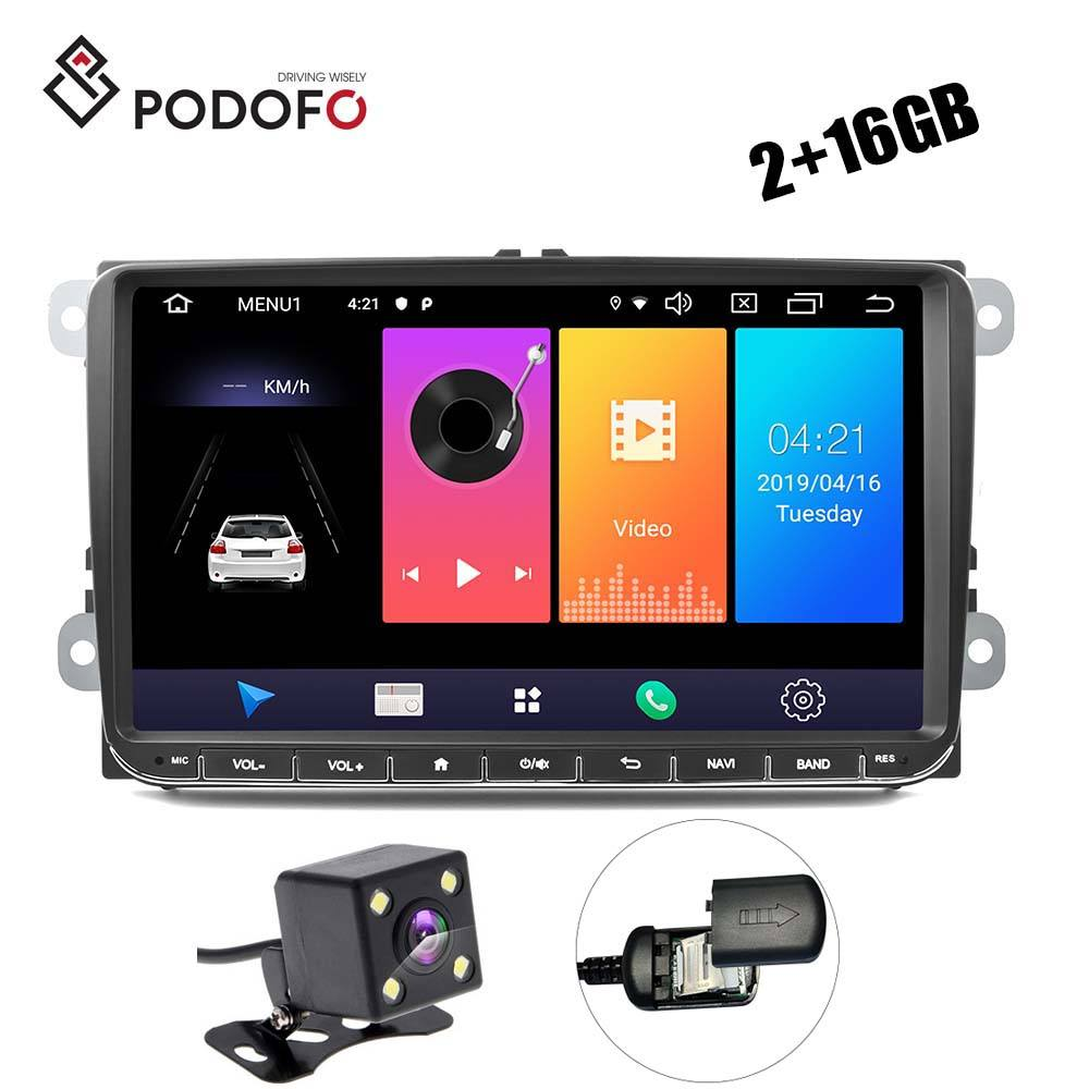 "Podofo 9"" 4G Android 9.0 2+16G Car Video Stereo FM AM RDS For VW Golf MK5 MK6 for Jetta T5 EOS POLO Touran Seat + Camera"