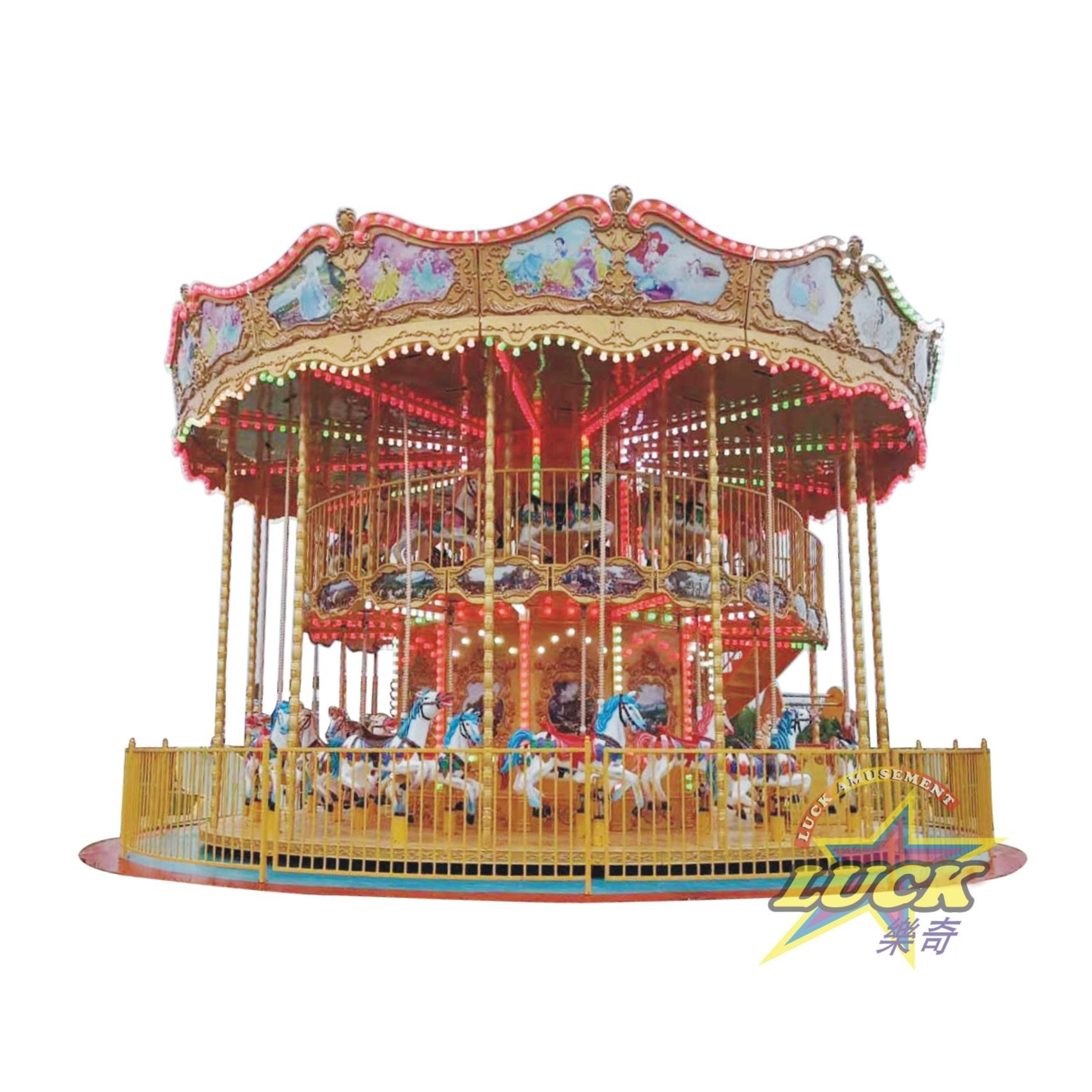 Amusements <span class=keywords><strong>Park</strong></span> Rides Double-Desk 32 Sitzplätze Karussell pferde Ride Merry To Go Machine