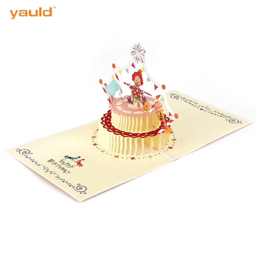 Custom Unique Funny Kids Laser Cut Birthday Cake 3D Pop Up Greeting Cards