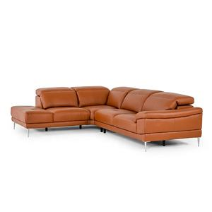 YASITE New Modern Pure Genuine Cow Leather L Shape Sofa Set with Chaise Lounge Sofa