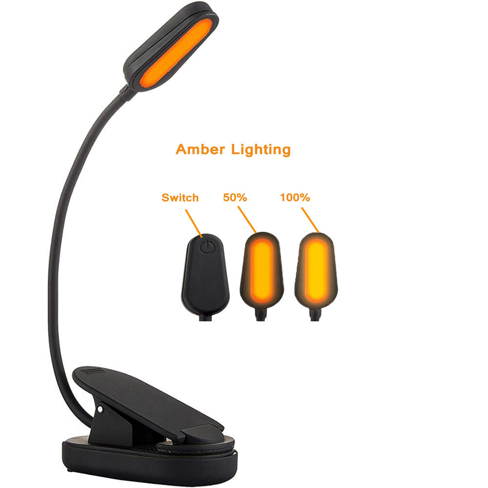 Flexible LED Reading Light Amber 1600K Clip On 1000mah For Kobo Laptops Map reading Books E-Readers Music Stand Car Maintenance