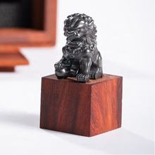 Chinese Forbidden City tungsten lion rare sandalwood customized seal stamp