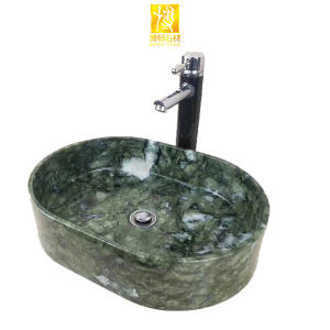 Luxury Kitchen Furniture Hotel Free Standing Indian Rainforest Green Marble Bathroom Sinks