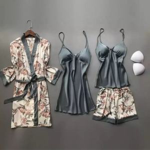 High Quality Four Pieces Silk Pijamas Set Floral Printed Sleepwear Satin Loungewear for Women