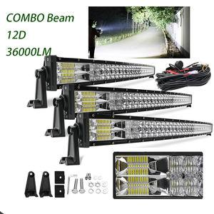 12V 24V 22 32 42 52 inch LED Light Bars 2 Row 180w 240w 360w Offroad Driving 4x4 50inch 12D Curved Truck Car Led Light Bar