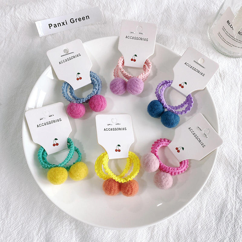New Korean children's hair tie baby plush hair accessories serving ball head rope candy color does not hurt the hair tie