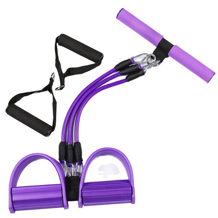 2-4 Tubes Sit-ups Rally Yoga Resistance Bands Foot Pedal Rally Thin Waist Weight Reduction Abdominal Home Fitness Equipment