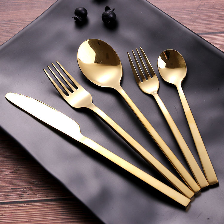 Teaspoon Fork Set Coffee Spoon Stainless Steel Flatware Tableware Gold Cuttlery