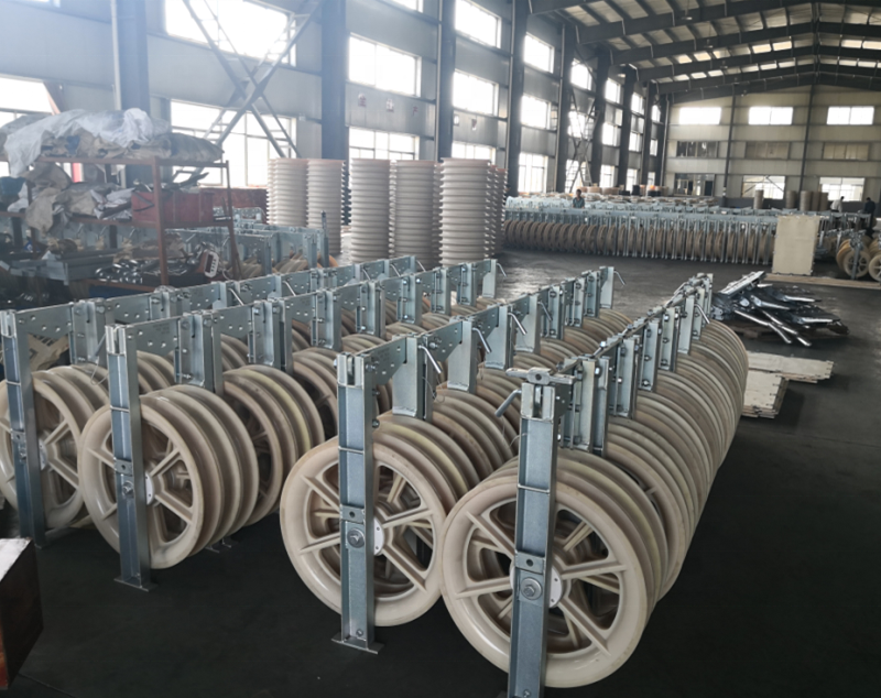 822mm Large Diameter Transmission Overhead Cable Roller Nylon Sheave Block Pulley Three Wheels