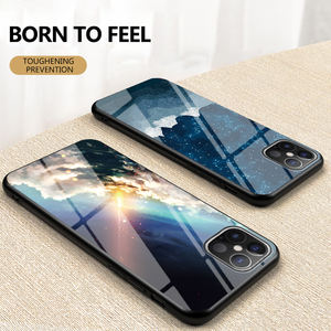 Case for Samsung S20 Starry sky pattern Glass back Phone Case Cover for iPhone 12 Pro Max