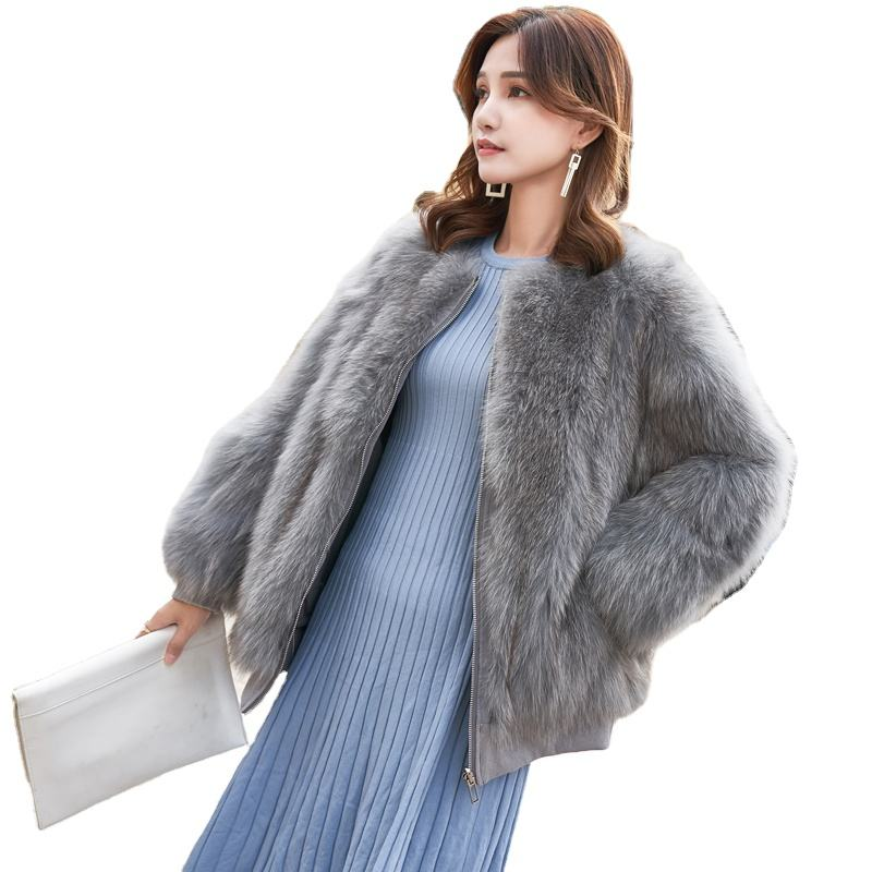 Winter Girls Real Fur Fox Coats Lady Colorful Full Sleeve Real Fox Fur Coat Double Face Fur For Jacket