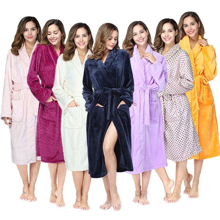 rongtai brand wholesale women luxury bathrobe flannel hotel bathrobe