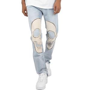 Streetwear Skull Print 100 Cotton Blue Non-stretch Denim Jeans For Hip Hop Singer