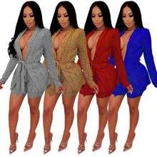 S3026  Women blazer Sexy Leisure suit Striped blazer mujer women and shorts two piece set