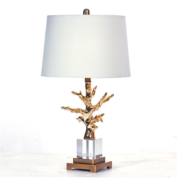 Modern Polyresin & Crystal Tree Table Lamp With Fabric Shade Hotel Lamp