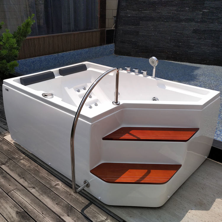Luxury bathtub/hot tub/ shower combo intex massage bath 2 person China indoor jacuzzi hot tubs freestanding bathtub with step