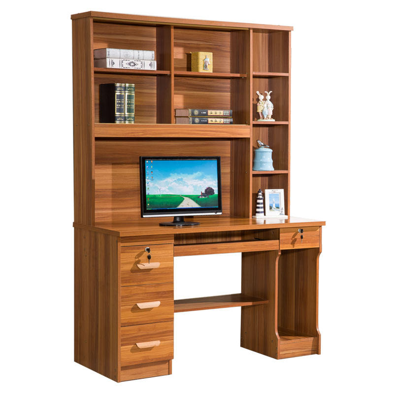 Home office laminated computer table with bookshelf